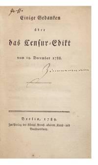 Einige Gedanken über das Censur-Edikt vom 19. December 1788