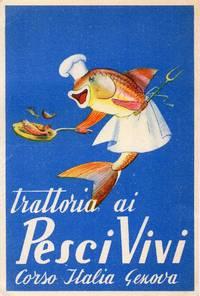 image of Original Illustrated Fish Restaurant Genoa Italy Postcard