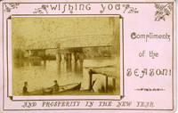 Cabinet Photograph / Christmas card of Latrobe Swing Bridge, Sale, Victoria, Australia