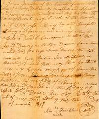 "1817 Kentucky Deed of Conveyance ""to all land drawn on the Bee Drawer from the United States for my services during the State War with Great Britain.."