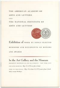 (Exhibition catalog): The American Academy of Arts and Letters and The National Institute of Arts and Letters. Exhibition of Work Newly Elected Members and Recipients of Honors and Awards. 1972