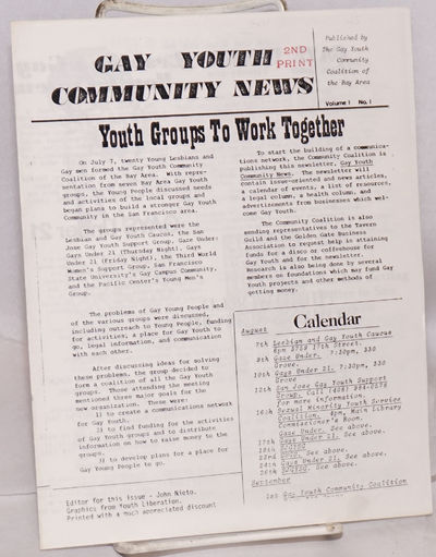 San Francisco: Gay Youth Community Coalition of the Bay Area, 1979. 4-panel newsletter, 7x8.5 inches...
