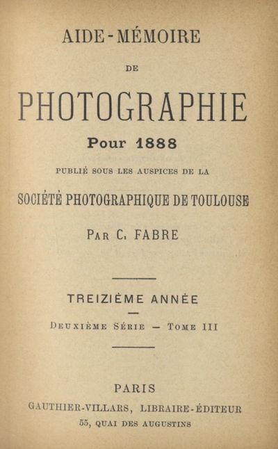 Paris: Société Photographique de Toulouse et Gauthier-Villars, 1901. First editions. 16mos., f...