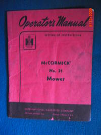 Operator's Manual McCormick No. 31 Mower: Setting Up Instructions
