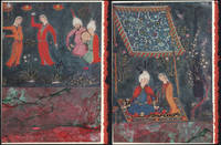 Persian Prince 2-Piece Puzzle Card on two one-of-a-kind hand marbled paper compositions presented on blank note cards.