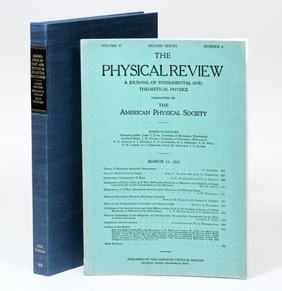 Lancaster: Physical Review, 1931. First Edition. Original wrappers. Fine. FIRST EDITION, FIRST PRINT...