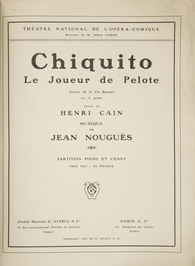 Paris: Société Musicale G. Astruc & Cie., Enoch & Cie. , 1909. Folio. Stiff grey wrappers with dar...