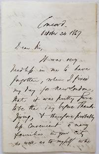 Ralph Waldo Emerson ALS on Postponing Lecture to Celebrate Thanksgiving, 1867