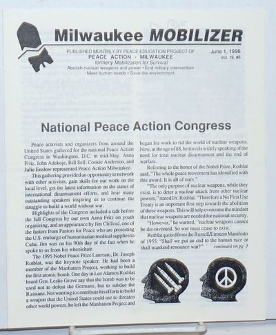 Milwaukee, MN: Peace Education Project of Peace Action, 1996. 8p. newsletter, 7.5x8.5 inches, very g...