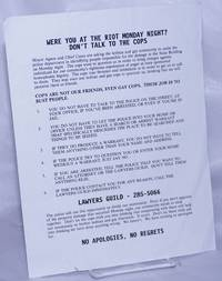 image of Were You at the Riot Monday Night? Don't Talk to the Cops [handbill]