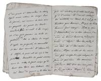 [Manuscript travel guide to Egypt].[France?, 1850s]. With 17 pages of text written with pen and ink in French and 4 pages of annotations in pencil. Unbound, pages later inexpertly sewn together.