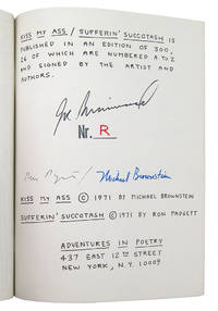KISS MY ASS! / SUFFERIN' SUCCOTASH by  Michael Brownstein & Ron Padgett  Joe (ill.) - Paperback - Signed First Edition - 1971 - from W. C. Baker Rare Books & Ephemera and Biblio.com