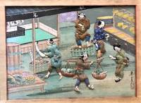 A panorama of 12 individual hand painted shadowbox views of Japanese life