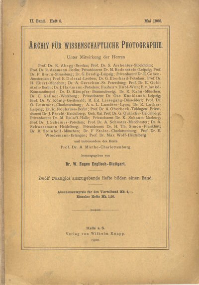 Halle/Salle: Wilhelm Knapp, 1901. First editions. 4tos., 326 pp.; 323 pp., illustrated with graphs, ...