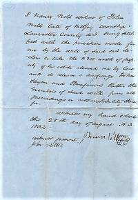 HANDWRITTEN REFUSAL BY THIS WIDOW TO TAKE PROPERTY FROM HER DECEASED HUSBAND'S ESTATE, 28 AUGUST 1862