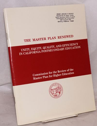Sacramento: Commisson for the Review of the Master Plan for Higher Education, 1987. Magazine. 48p. +...