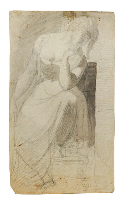 . 11 5/8 x 6 in. (29.5 x 17.2 cm.). A contemplative woman seated, head resting on her right arm with...