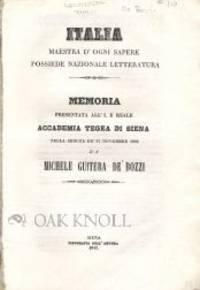 Siena: Tipografia Dell' Ancona, 1842. disbound. 8vo. disbound. 28 pages. Memoria Presentata All' I.E...