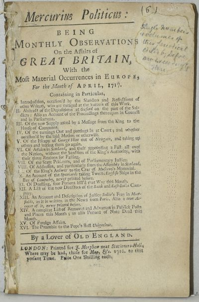 London: Printed for J. Morphew near Stationers-Hall, 1717. First Edition. Original Sewn Wrappers. Go...