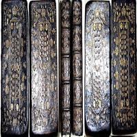 1722 HOLY BIBLE 2 VOLUME SET KING GEORGE I ROYAL BINDING TESTAMENT KJV GOD JESUS HELL MINI