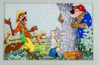 Rabbit, Br'er Fox and Br'er Bear having fun in the snow