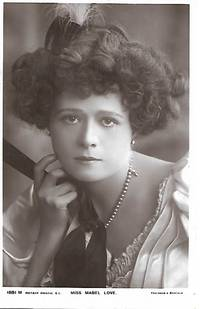 image of Edwardian Era Stage Actress, Miss Mabel LOVE on 1910s Real Photo Postcard (RPPC)