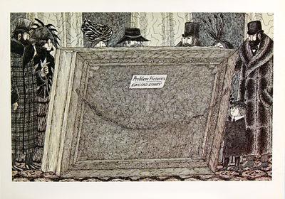 NY: Graham, 1975. Gorey, Edward. Oblong 16mo. Single-fold advertisement for an exhibition of Gorey's...