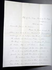 2 Page Autographed Letter Signed to the Honorable James W. Denver,  April 10, 1884