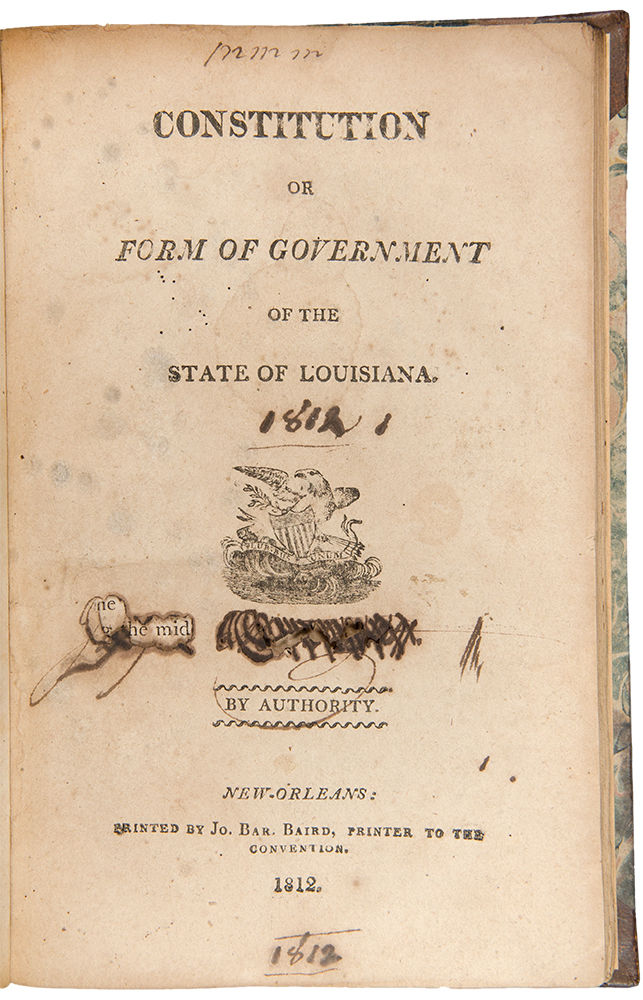 louisiana constitution Louisiana's original constitution was written in a bar and largely copied from other sources.