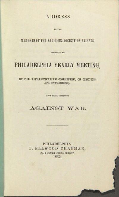 Philadelphia: T. Ellwood Chapman, 1862. First edition, 12mo, pp. 12; original plain green paper wrap...