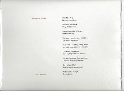 Tungsten Press, N.H., 2010. 1st edition, limited (1/26) lettered and signed, broadside. A handsomely...