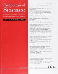 image of Psychological Science (Volume 20, Number 8, August 2009)