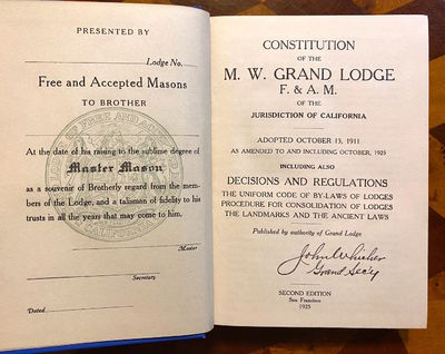 San Francisco: Published by Authority of the Grand Lodge, 1925. Second edition. Very good. 16mo. 374...