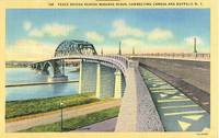 Peace Bridge across Niagara River, Buffalo New York unused linen Postcard