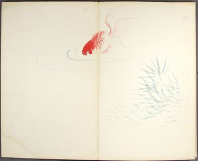 , . Accordion-bound large octavo artist's sketchbook, containing 25 double-page, hand-painted color ...