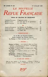La Nouvelle Revue Française: Revue Mensuelle de Littérature et de Critique [No. 298, July 1938]