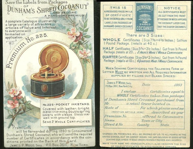Image for VICTORIAN TRADE CARD FOR DUNHAM'S SHRED COCOANUT PREMIUMS