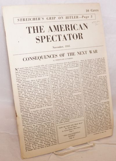 New York: The American Spectator, Corp, 1935. Newspaper. 16p. tabloid newspaper 9.5x12.5 inches, ill...