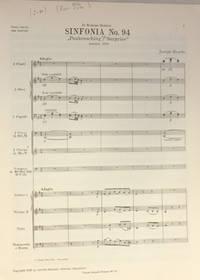 Sinfonia Nr. 94. ''Paukenschlag/Surprise'' Herausgegen von H.C. Robbins Landon, Partitur