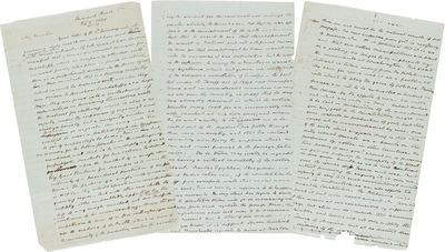Sherwood Forest, Va, 1849. pp. manuscript on both sides of three folio-sized sheets of green paper. ...