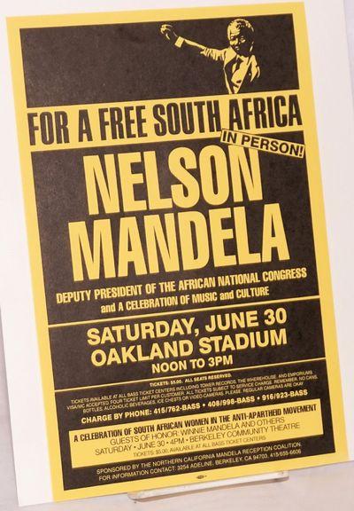 Berkeley: Northern California Mandela Reception Coalition, 1990. 7.25x11 inch handbill, very good, a...