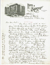 AUTOGRAPH LETTER SIGNED BY AMERICAN STAGE AND SCREEN ACTOR HOWARD KYLE INVITING J. B. AND MRS. POND TO ATTEND A DINNER HONORING THE ACTORS' FIDELITY LEAGUE.
