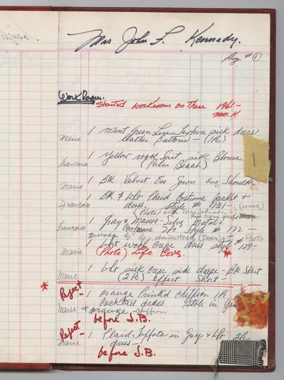 Jacqueline Kennedy Detailed Oleg Cassini Ledger of Fabric Samples and Datelines, Including Poignant ...