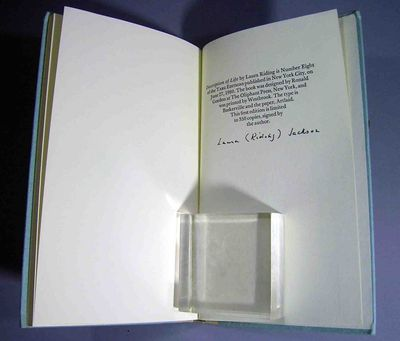New York: Targ Editions, 1980. First Edition, one of 350 signed by the author, Laura Riding Jackson,...