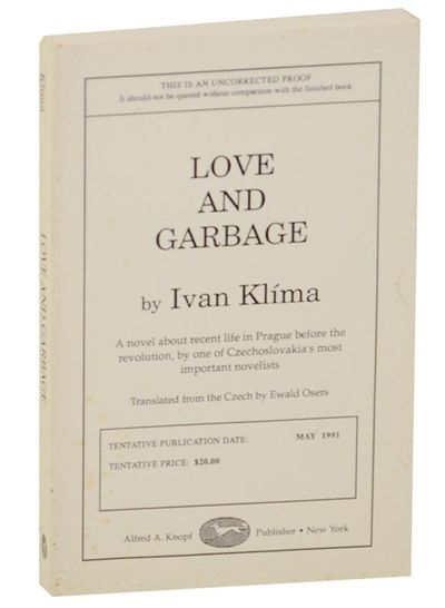 New York: Alfred A. Knopf, 1991. First edition. Softcover. Uncorrected proof. A novel by Klima trans...