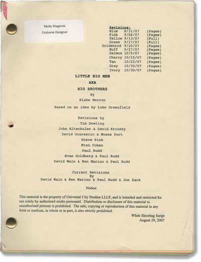 Universal City: Universal Pictures, 2007. Shooting Script for the 2008 comedy film, here under the w...