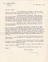 image of TYPED LETTER SIGNED by the ITALIAN FREUDIAN PSYCHOANALIST EMILIO SERVADIO to the author JOHN HYDE PRESTON, regarding the Italian translation of a novel Preston is writing.