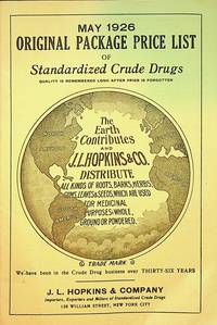 May 1926 Original Package Price list of Standardized Crude Drugs