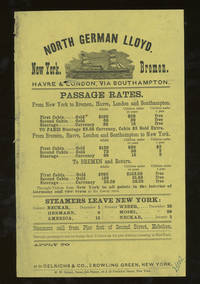 North German Lloyd Sailing Schedule and Rates of Passage, New York to Bremen by North German Lloyd - 1878 - from Common Crow Books (SKU: z014583)