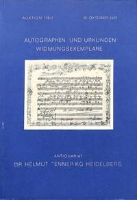 Auktion 25. Oktober 1977: Autographen und Urkunden, Widmungsexemplare.